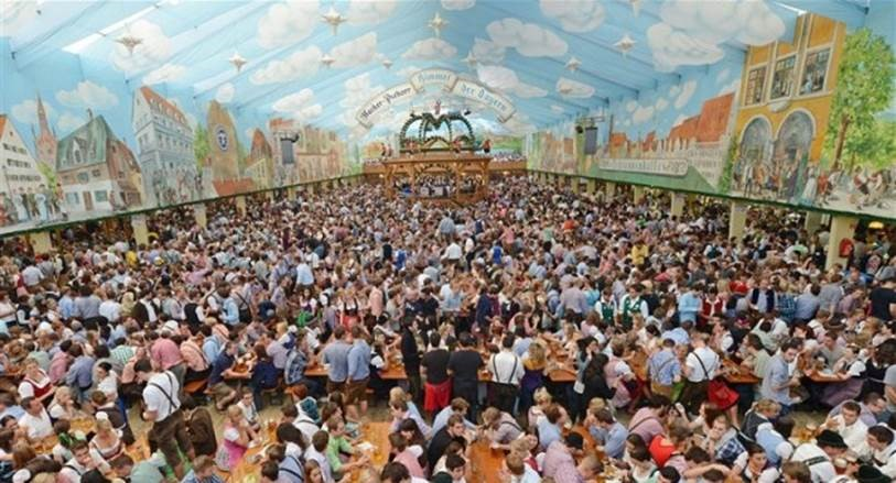 A traditional beer tent or a Festhalle
