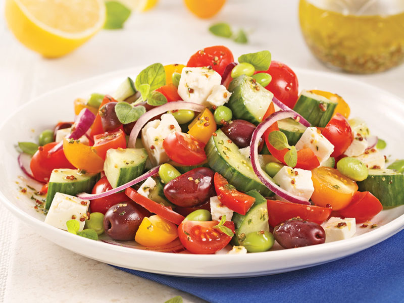 Feta and Edamame Greek Salad