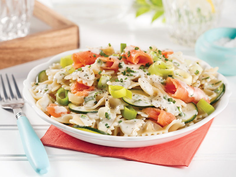 Smoked Salmon and Leek Pasta Salad