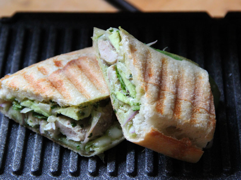Chicken Panini with Roasted Peppers and Avocado