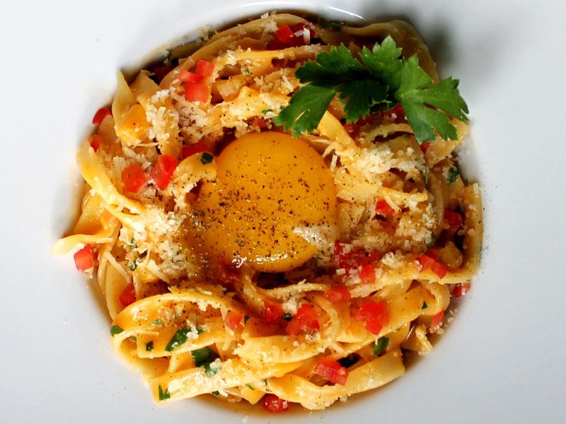 Chorizo Tagliatelle Carbonara Pasta
